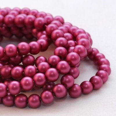 Sidenmatta glaspärlor - 8 mm, mörk cerise